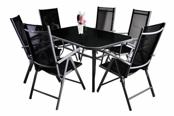 Sestava zahradního kovového nábytku, skládací židle, 7 ks