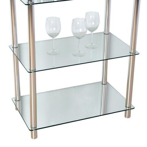 Designový regál do interiéru skleněný / kovové nohy