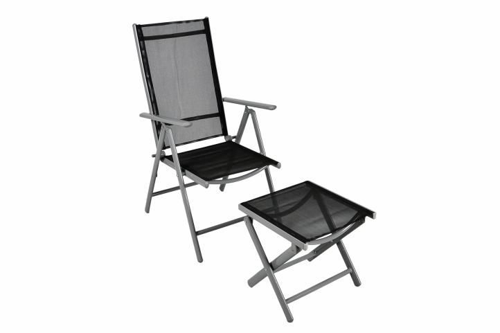 Zahradní kovová skládací židle s podložkou pod nohy, hliník / textilie