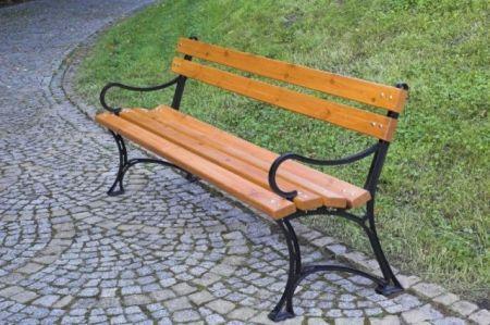 Parková lavice k přišroubování, kov / borovicové dřevo