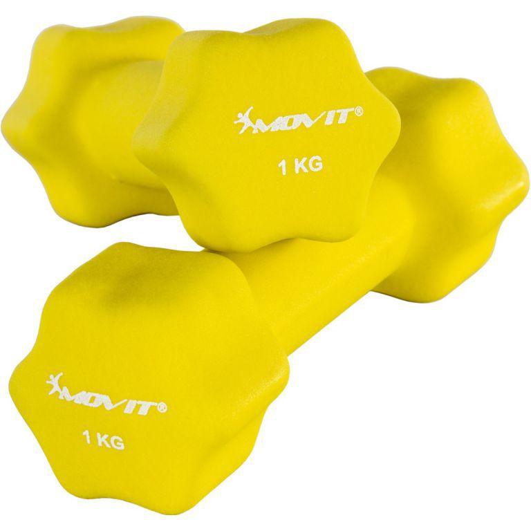 2 ks šestihranná činka s neoprenovým potahem, 2x1 kg, žlutá