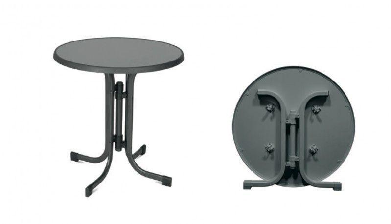 Zahradní kovový skládací stůl ø 85 cm, kovový rám / horní deska sevelit