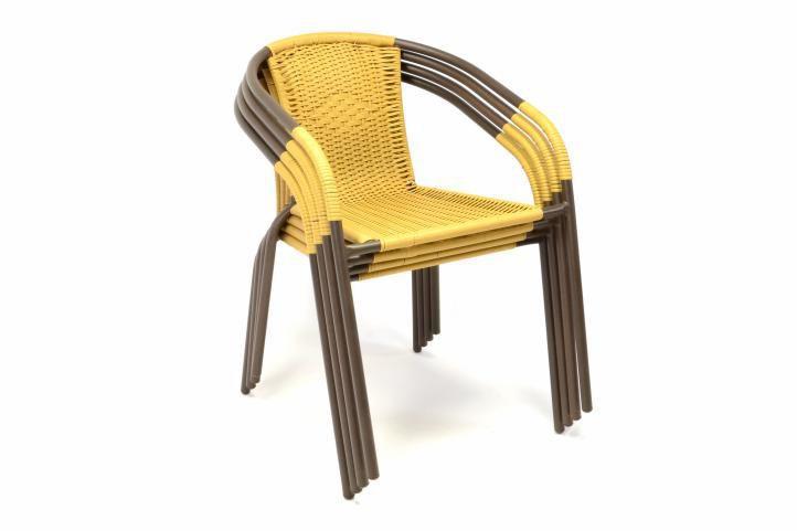 4 ks zahradní stohovatelná židle s ratanovým výpletem, béžová