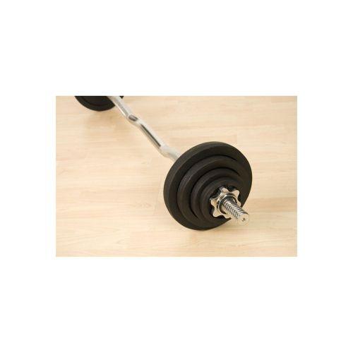 Nakládací činka obouruční - zahnutá tyč, kovové kotouče, 26 kg
