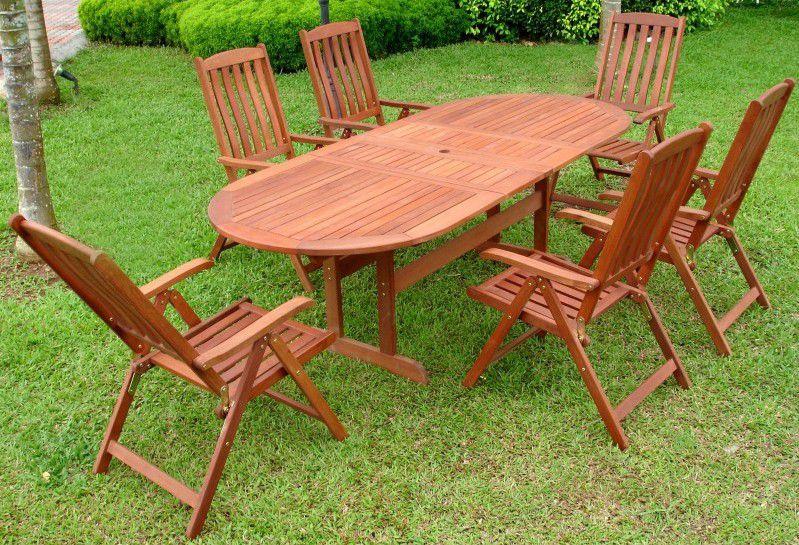 Dřevěný zahradní stůl oválný, rozkládací mechanismus, tvrdé dřevo Shorea