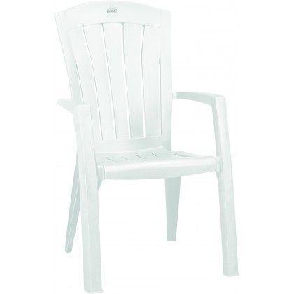Zahradní plastová židle s vysokým opěradlem, bílá