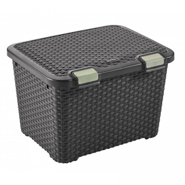 Velký plastový úložný box s víkem 43 l, ratanový vzhled, hnědý
