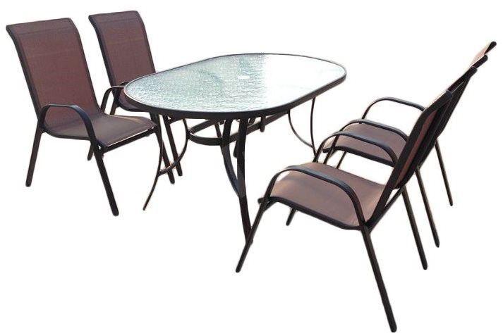 Moderní set zahradního nábytku 5 ks, stohovatelné židle, skleněný stůl