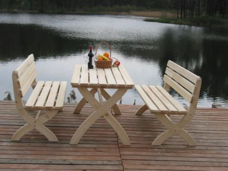 Zahradní dřevěný obdélníkový stůl 150 cm, nelakovaný