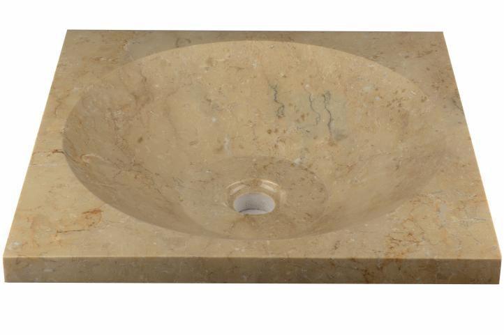 Designové čtvercové umyvadlo na desku - pravý přírodní mramor, leštěné