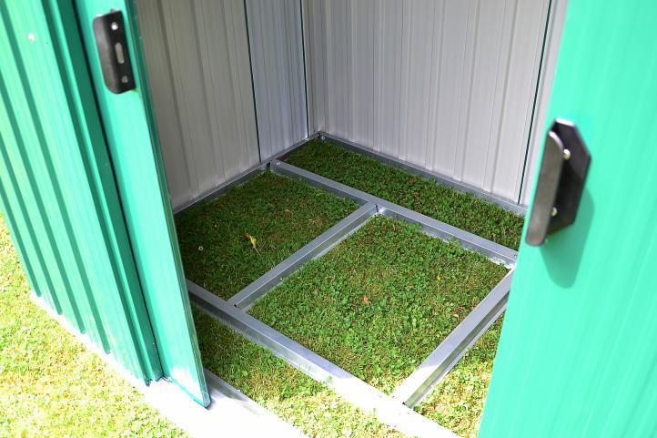 Kovový zahradní domek, 2 posuvné dveře, vč. spodního rámu, 257x205x 202 cm