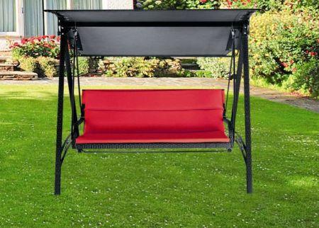 Elegantní zahradní houpačka s hliníkovou konstrukcí, černá / červené polstrování