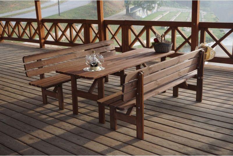 Dřevěná zahradní lavice 200 cm, mořená borovice