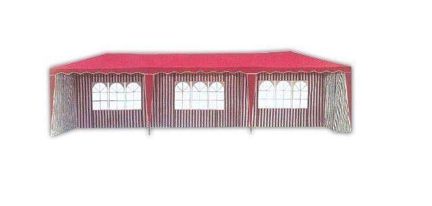 Velký zahradní altán 3x9 m, vč. bočních stěn, červená / bílá