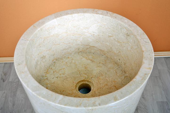 Designové kruhové umyvadlo z leštěného mramoru, vč. podstavce