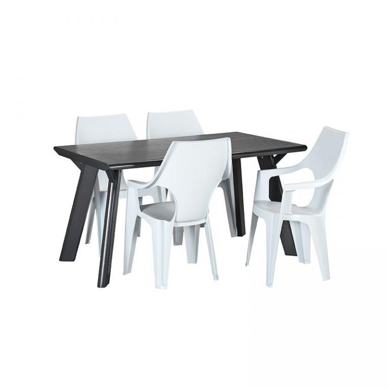 Moderní designové plastové křeslo s vysokým opěradlem, bílé