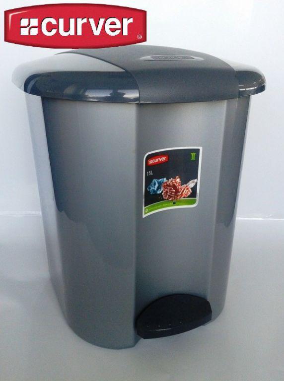 Plastový odpadkový koš s nožním otevíráním 15 l, šedý
