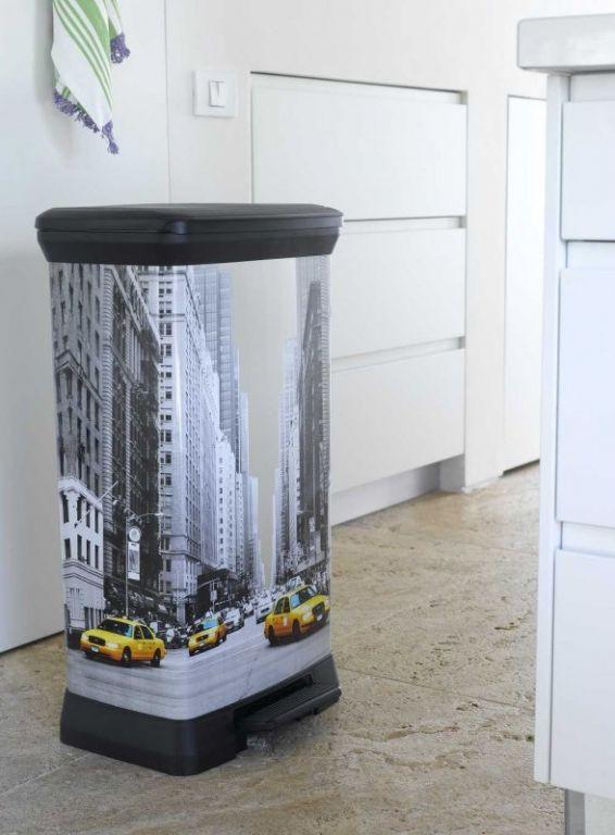 Ozdobný odpadkový koš 50 l, nožní otevírání, potisk New York