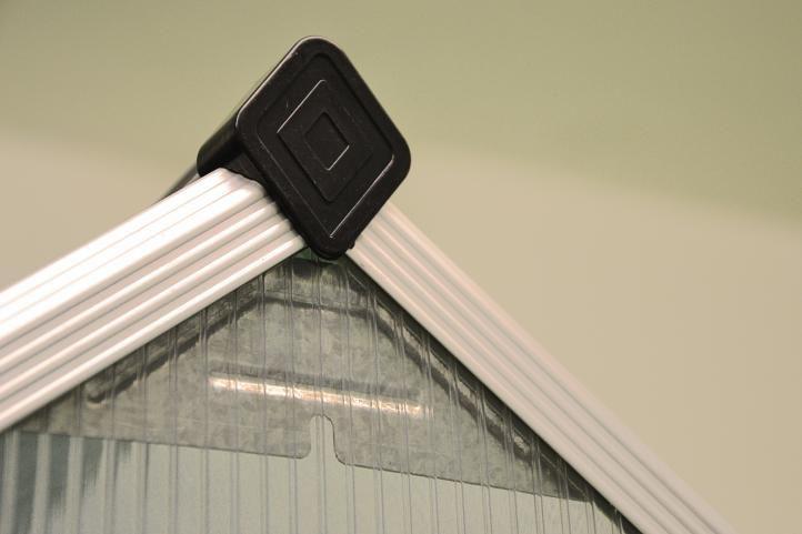 Polykarbonátový skleník vč. spodního rámu, automatické větrání, 311x190x195 cm