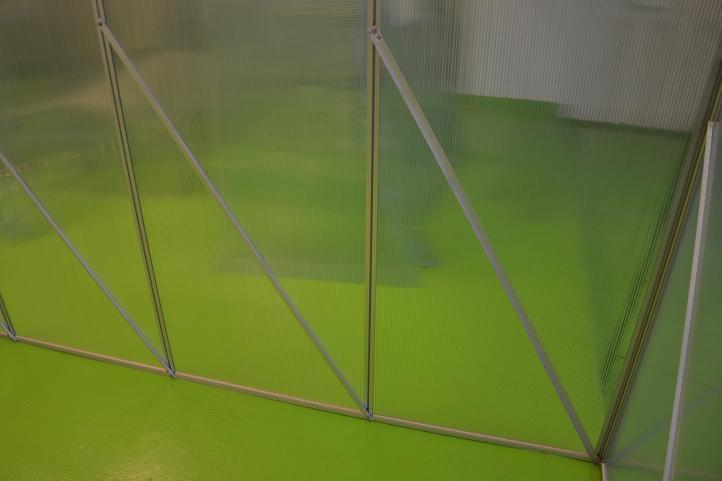 Polykarbonátový skleník vč. spodního rámu, hliníková konstrukce, 311x190x195 cm
