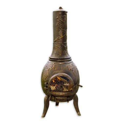 Zdobený venkovní litinový krb s dvířky 120 cm, bronzový vzhled
