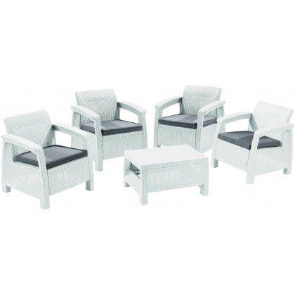 Zahradní sestava ratanového nábytku, stůl + křesla, bílá