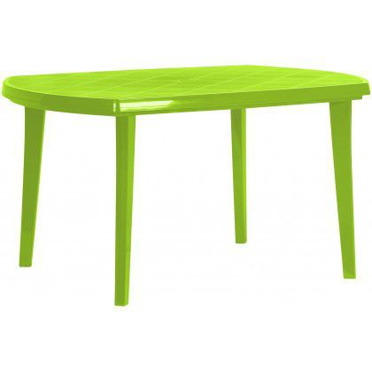 Oválný plastový stůl pro 6 osob, světle zelený