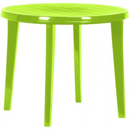 Kulatý plastový stůl pro 4 osoby, světle zelený