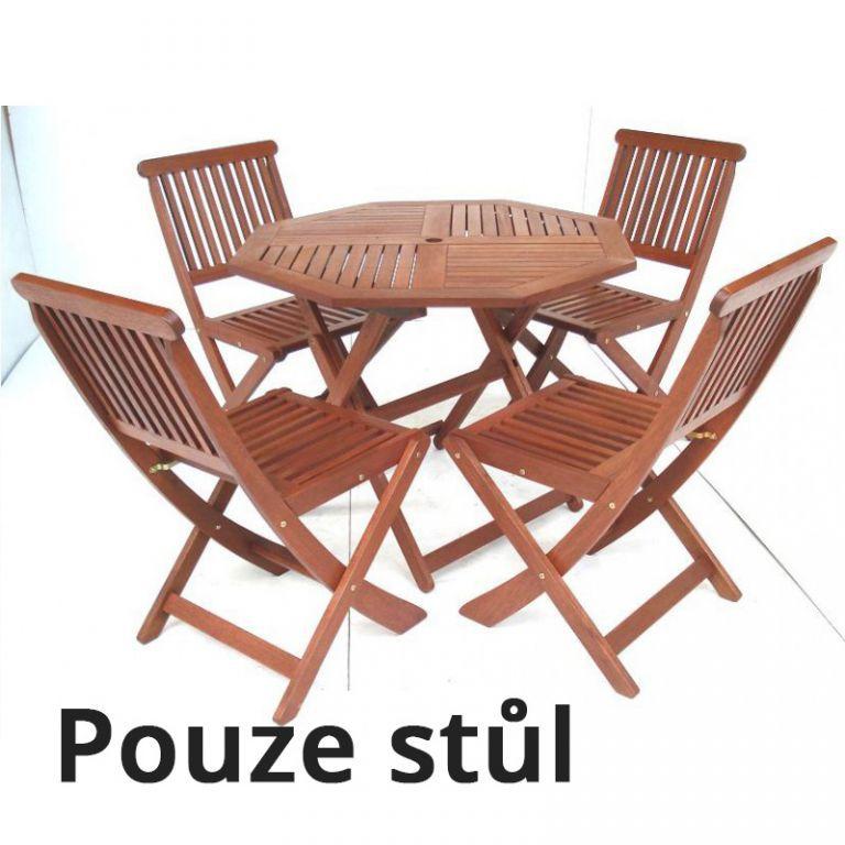 Kruhový zahradní stůl z masivu, tropické dřevo MERANTI