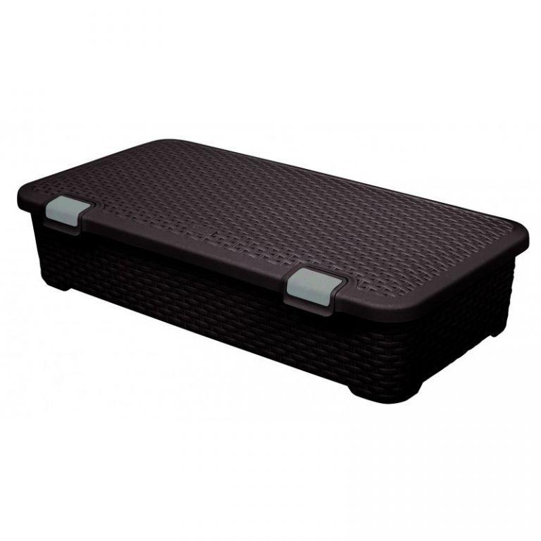 Úložný plastový box velký - 42 l, ratanový vzhled, hnědý