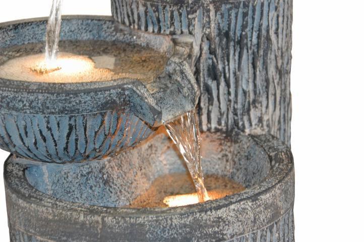 Ozdobná zahradní kašna s tekoucí vodou, 3 nádoby, 54 cm