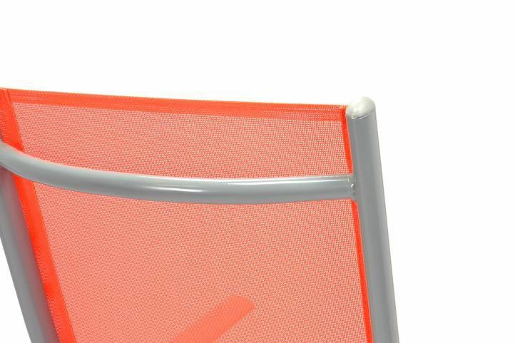 4 ks hliníková skládací židle s textilním výpletem, polohovací opěradlo, oranžová