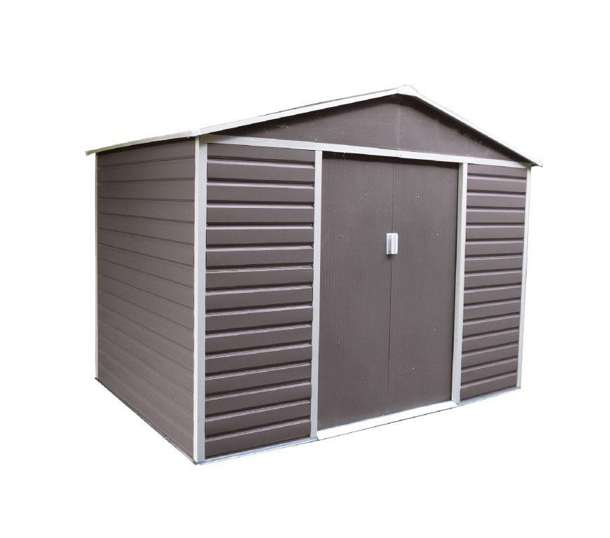 Plechový zahradní domek pozinkovaný, posuvné dveře, 277x255x202 cm, šedý