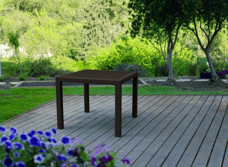 Čtvercový zahradní stůl plastový - imitace ratanu, hnědý
