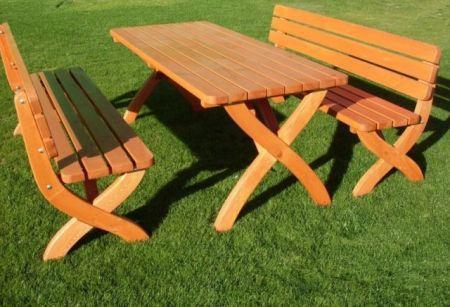 Zahradní dřevěný stůl z masivu 180 cm, lakovaná borovice