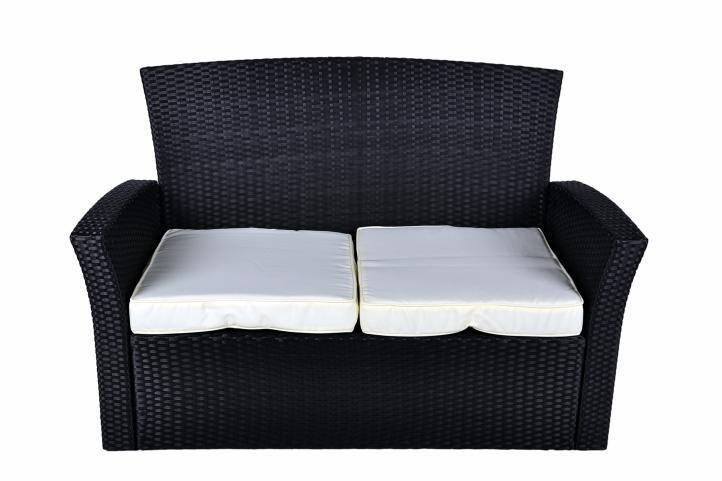Elegantní sada polyratanového zahradního nábytku, černá / bílé polstry