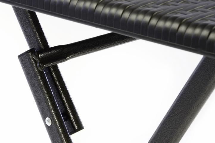 Skládací balkonový stolek čtvercový, ratanový vzhled, kov / plast