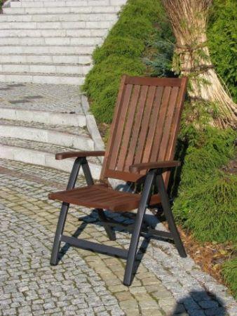 Dřevěné zahradní polohovací křeslo s kovovou kostrou, THERMOWOOD