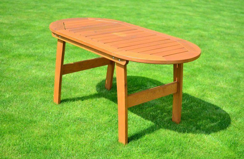 Venkovní dřevěný stůl oválný, 146 cm, mořená borovice