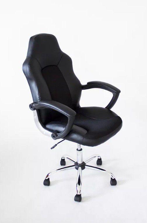 Pojízdná kancelářská židle s funkcí houpání, černá