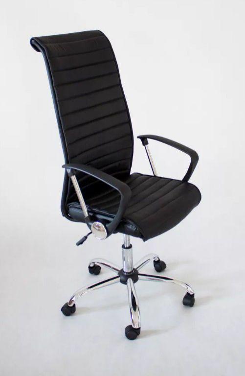 Designová kancelářská otočná židle, kožený vzhled, černá / chrom