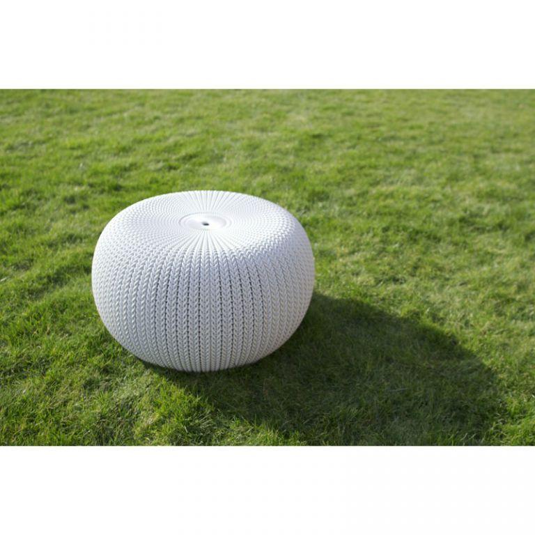 Designový polyratanový taburet kruhový, na zahradu / terasu / balkon