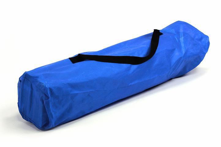 Skládací textilní dvojsedačka / lavice s kovovým rámem, modrá