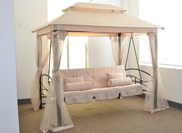 Luxusní relaxační houpačka s altánem, ocelová konstrukce, moskytiéra