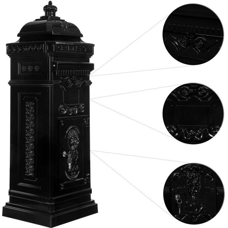 Dekorativní poštovní schránka v historickém designu 102,5 cm, antracit