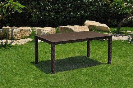 Plastový zahradní stůl s otvorem pro slunečník, imitace ratanu, hnědý