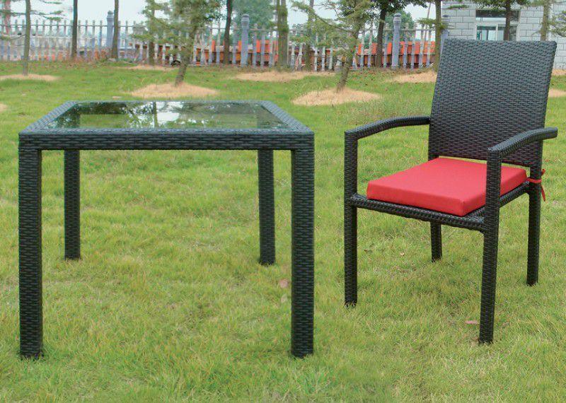 Zahradní skleněný stůl čtvercový, čiré sklo / hliník