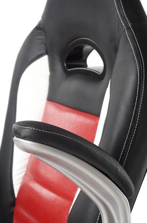 Otočné křeslo na kolečkách, nastavitelná výška, červená / bílá / černá