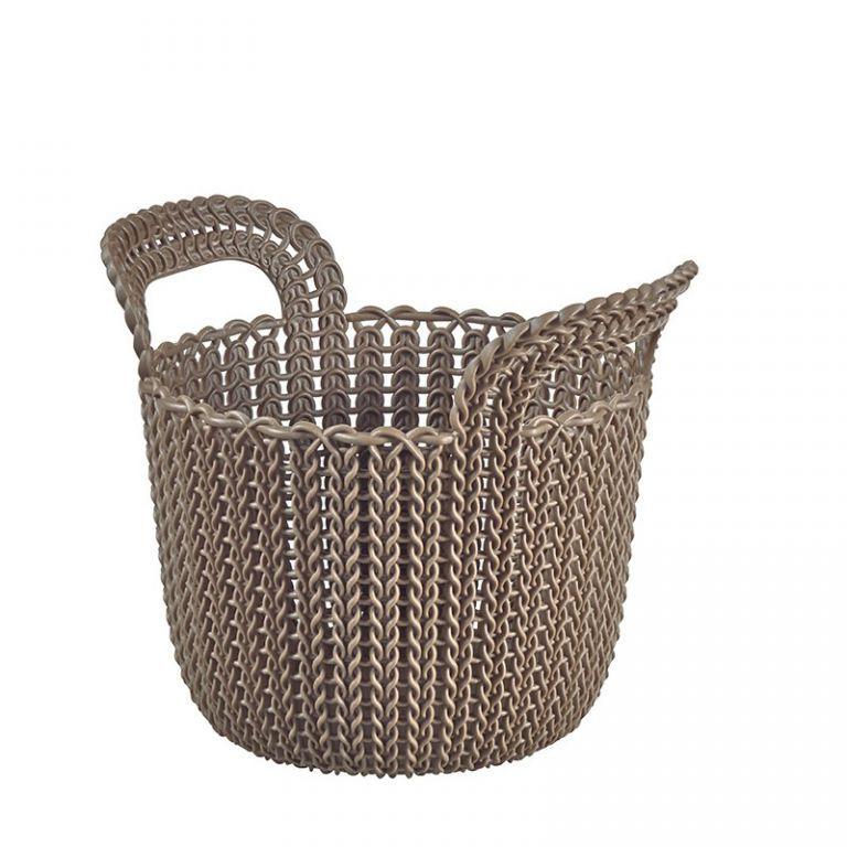Menší plastový košík 3 l, háčkovaný vzhled, hnědý