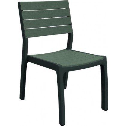 Zahradní plastová židle bez područek s imitací dřeva, antracit